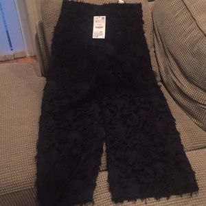 Zara black fuzzy patterned wide leg pants.